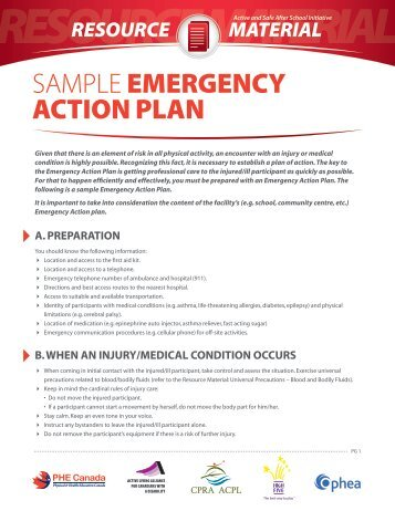 Guidelines For Preparing An Emergency Action Plan And Sample Plan