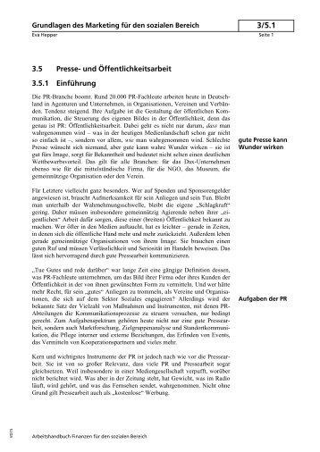 3.5 Presse- und Öffentlichkeitsarbeit 3.5.1 Einführung