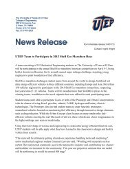 UTEP Team to Participate in 2013 Shell Eco Marathon Race