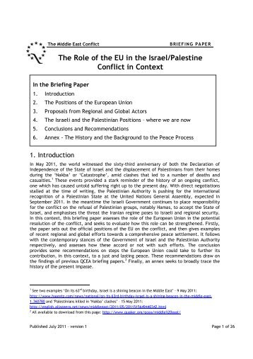 """Read """"The Role of the EU in the Israel/Palestine Conflict in Context"""""""