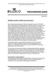 Slutligt resultat av Billeruds nyemission - Billerud AB