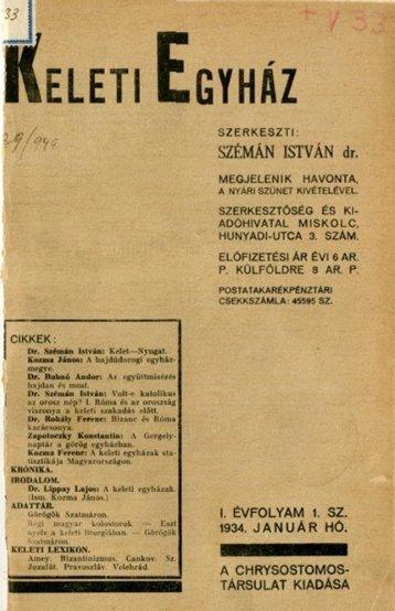 Keleti Egyház 1934/1 - Byzantinohungarica - Görög Katolikus Örökség