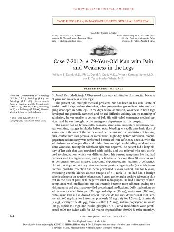Case 7-2012: A 79-Year-Old Man with Pain and Weakness in the Legs