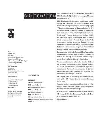 bülten 80 (pdf) - Bilim ve Sanat Vakfı