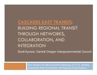 cascades east transit - New Partners for Smart Growth Conference