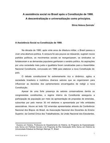 A assistência social no Brasil após a Constituição de ... - Ts.ucr.ac.cr