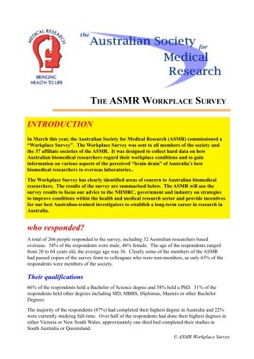 Workplace Survey report - Australian Society for Medical Research