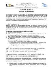 EDITAL 01/2013 Bolsas de Mestrado - PPGEM - UTFPR