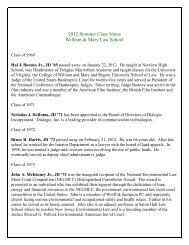 2012 Summer Class Notes William & Mary Law School