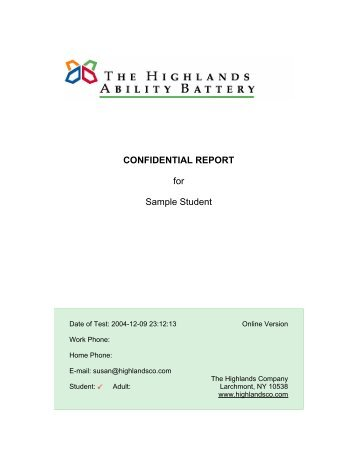 CONFIDENTIAL REPORT for Sample Student - The Highlands ...