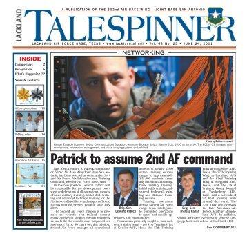 Patrick to assume 2nd AF command - San Antonio News