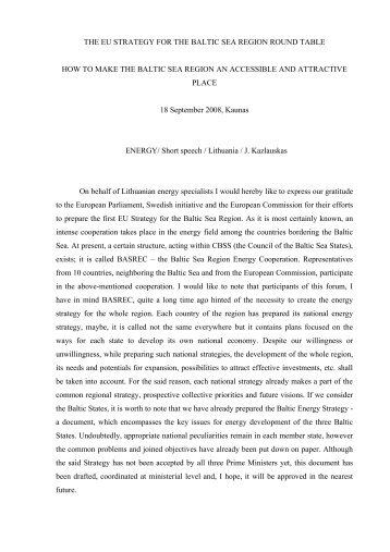 the eu strategy for the baltic sea region raoundtable - BSSSC.com