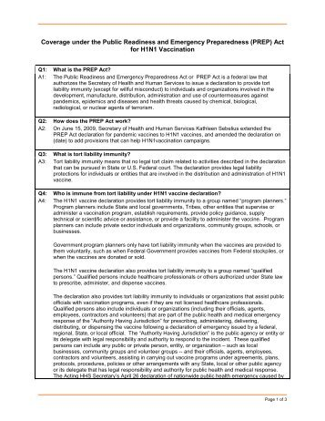 (PREP) Act for H1N1 Vaccination