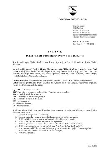 Zapisnik 17. redne seje Občinskega sveta Občine ... - Občina Škofljica