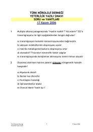 TND 2006 Yeterlilik Yazılı Sınavı Soru ve Yanıtları - Türk Nöroloji ...