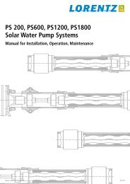 PS 200, PS600, PS1200, PS1800 Solar Water Pump Systems