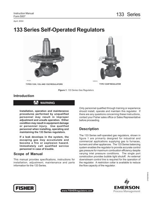 133 Series Self-Operated Regulator - Control Southern Inc