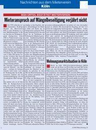 Mieteranspruch auf Mängelbeseitigung verjährt ... - Mieterverein Köln