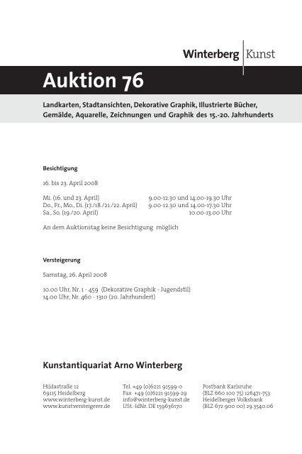 17. jahrhundert - Winterberg - Auktionen