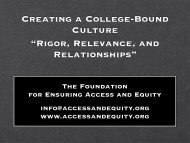 Finding Funding Partners - Ensuring Access and Equity