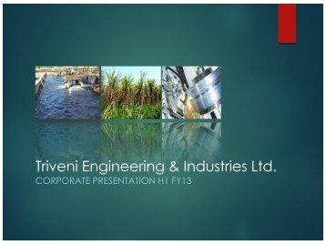 Triveni Corporate Presentation May 2013 - Triveni Engineering