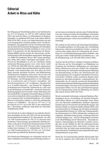 Editorial Arbeit in Hitze und Kälte - Zeitschrift für Arbeitswissenschaft