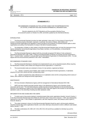 ST.3 - Recommended standard on two-letter codes for the - WIPO