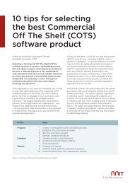 10 tips for selecting the best Commercial Off The Shelf (COTS ... - NNIT
