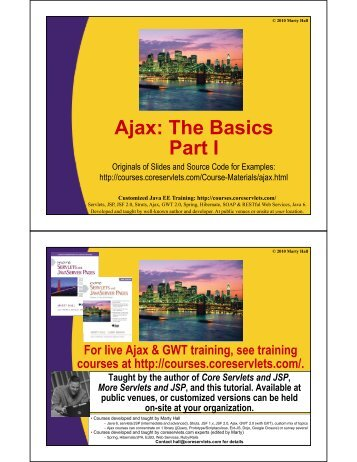 Ajax: The Basics Part I - Custom Training Courses - Coreservlets.com