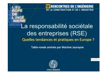 La responsabilité sociétale des entreprises (RSE) - Syntec ingenierie
