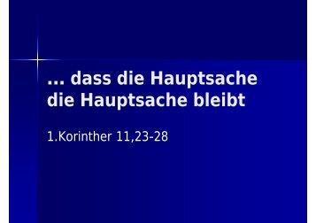 … dass die Hauptsache die Hauptsache bleibt - EFG Hemsbach