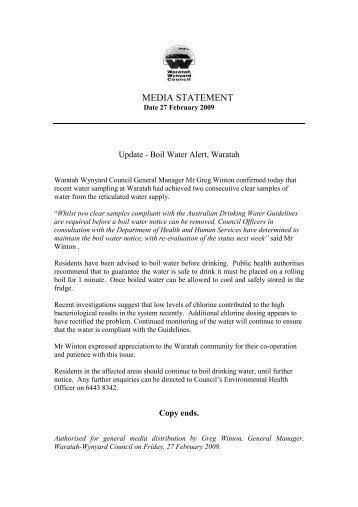 Boil Water Update - Waratah-Wynyard Council
