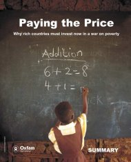 Paying the Price - summary of report - Oxfam International