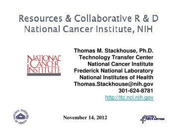 Resources and Collaborative R&D NCI