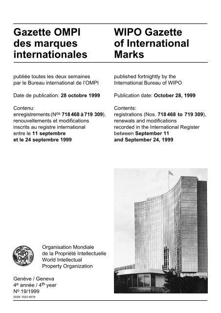 Wipo Gazette Of International Marks Gazette Ompi Des Marques
