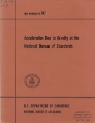 Acceleration Due to Gravity at the National Bureau of Standards