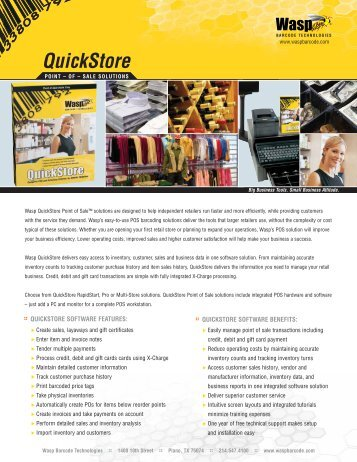 quickstore software benefits - Wasp Barcode Technologies