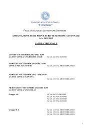 Assegnazione spazi prove scritte sessione autunnale a.a. 2011