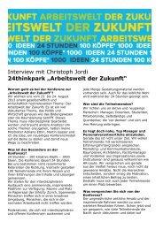 """Interview mit Christoph Jordi 24thinkpark """"Arbeitswelt ... - Regiosuisse"""