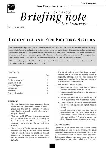 Legionella and Fire Fighting Systems - Residential Sprinkler ...
