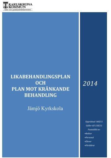 Likabehandlingsplan, pdf, 636 kB - Karlskrona kommun