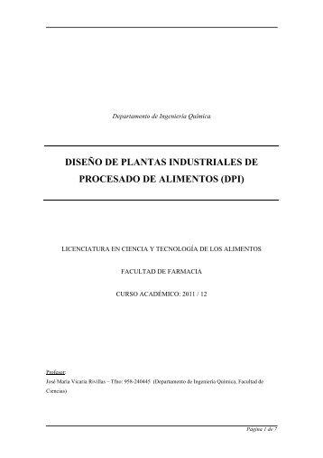 diseño de plantas industriales de procesado de alimentos (dpi)
