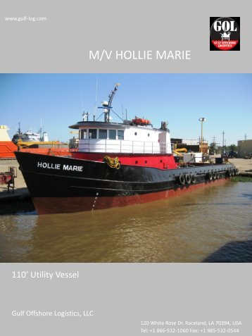 m/v hollie marie 110' utility vessel - Gulf Offshore Logistics