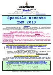 VERSAMENTO ACCONTO IMU PER L'ANNO 2013 - Comune di ...