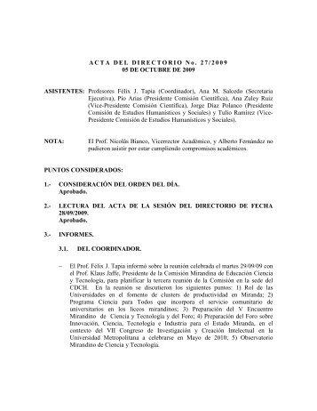 Directorio de fecha 05/10/2009 - CDCH-UCV