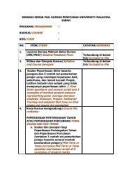 senarai semak fail kursus pensyarah universiti malaysia sabah