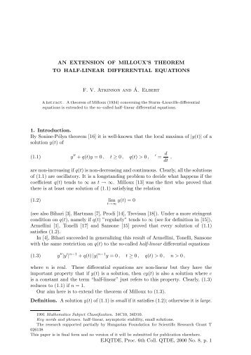 AN EXTENSION OF MILLOUX'S THEOREM TO HALF ... - EMIS