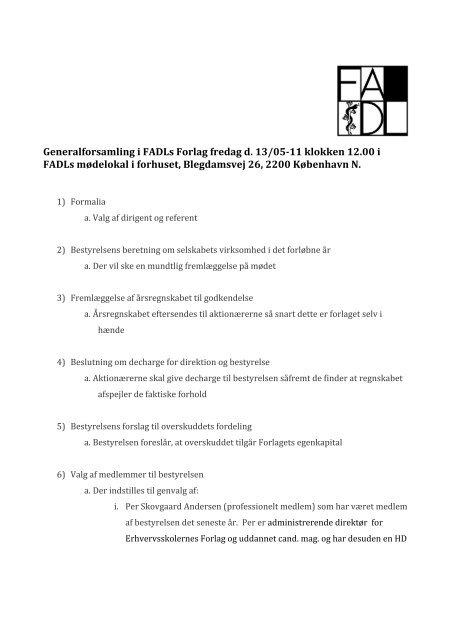 Generalforsamling i FADLs Forlag fredag d. 13/05-11 ... - fadl.dk