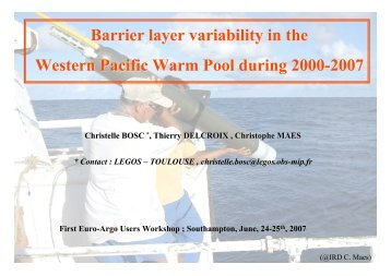05-Bosc Barrier layer variability in the Western Pacific ... - Euro-Argo