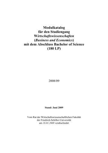 (Business and Economics) mit dem Abschluss Bachelor of Science